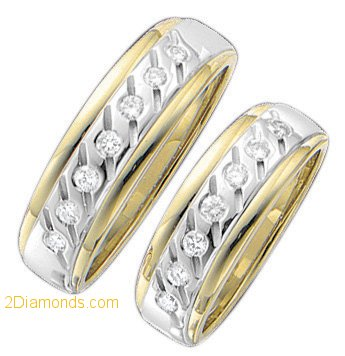 7mm 2-Tone Tapered Gentlemans Diamond Wedding Band