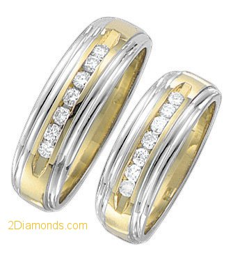 2-Tone Tapered Gentlemans Diamond Wedding Band